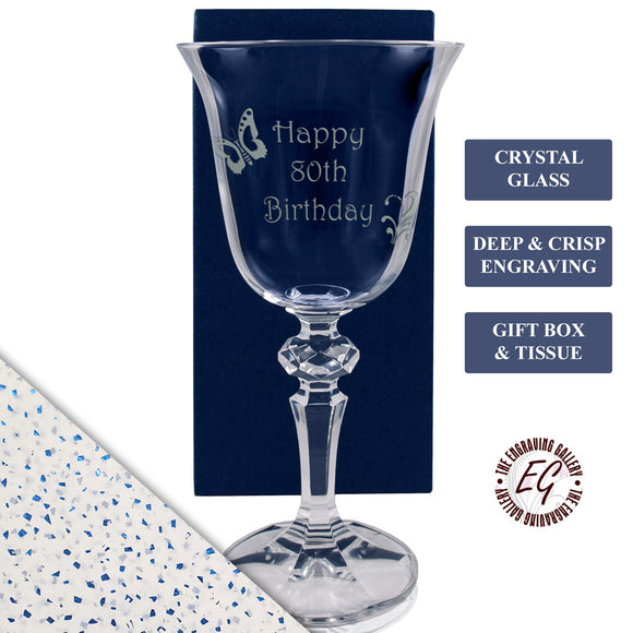 80th - Happy 80th Birthday - Engraved Crystal Wine Glass