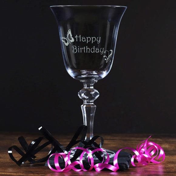Happy Birthday - Engraved Crystal Wine Glass