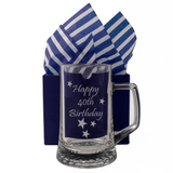 40th - Happy 40th Birthday - Engraved Tankard Beer Pint Glass - engraving-gallery.com