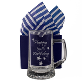 65th - Happy 65th Birthday - Engraved Tankard Beer Pint Glass - engraving-gallery.com