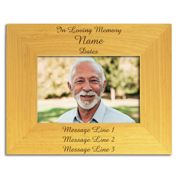 In Loving Memory - Personalised Wood Photo Frame Landscape View - The Engraving Gallery