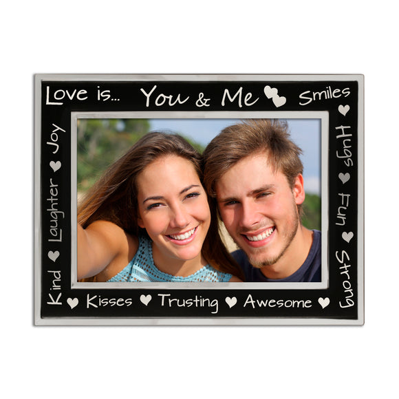 Love Is You and Me - Silver Plated, Black and Silver Photo Frame - engraving-gallery.com