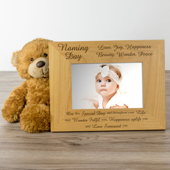 Naming Day - Engraved Wood Photo Frame - engraving-gallery.com