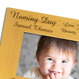 Naming Day - Personalised Wood Photo Frame Close Up - engraving-gallery.com