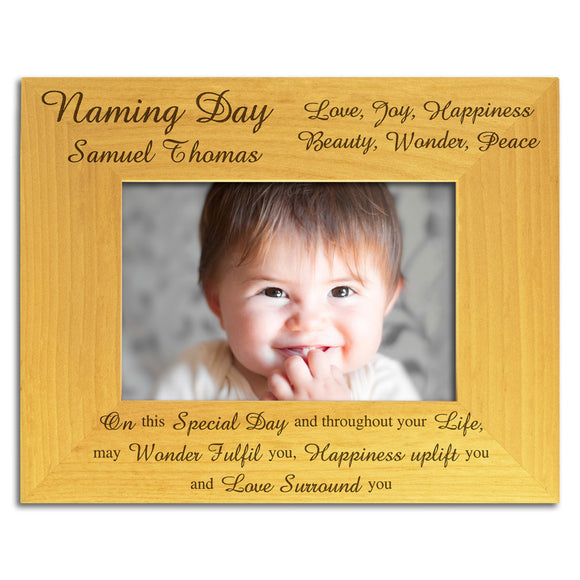 Naming Day - Personalised Wood Photo Frame - engraving-gallery.com