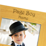 Page Boy Abroad - Personalised Wood Photo Frame Landscape View Close up - engraving-gallery.com