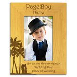 Page Boy Abroad - Personalised Wood Photo Frame Portait View - engraving-gallery.com
