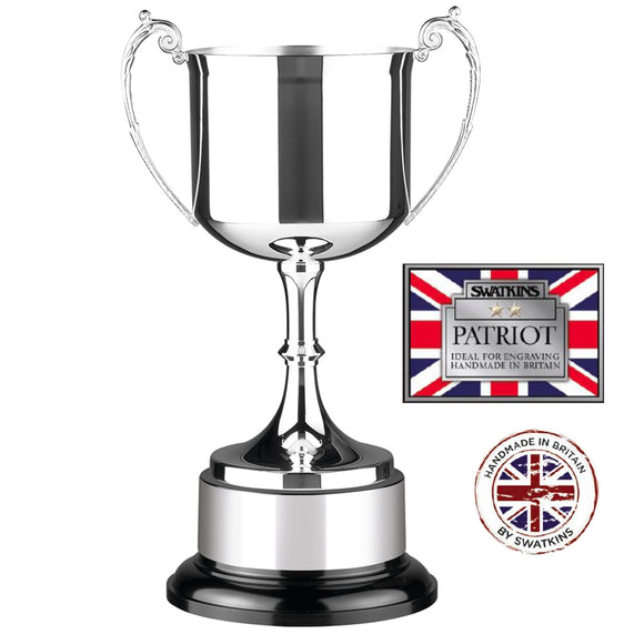 Swatkins PAT2 Silver Plated Patriot Cup Award Trophy In 5 Sizes - engraving-gallery.com