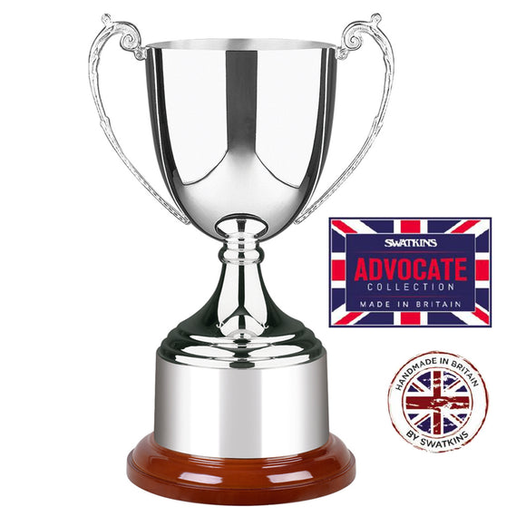 Swatkins SAS636 Silver Plated Advocate Cup Award Trophy In 3 Sizes - engraving-gallery.com