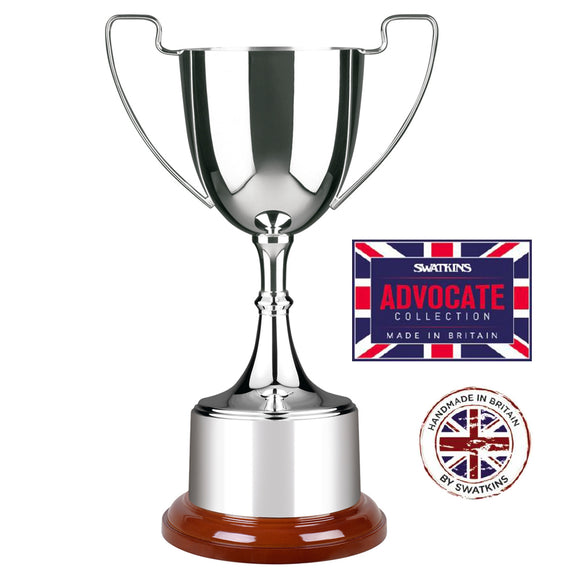 Swatkins SAS641 Silver Plated Advocate Cup Award Trophy In 3 Sizes - engraving-gallery.com