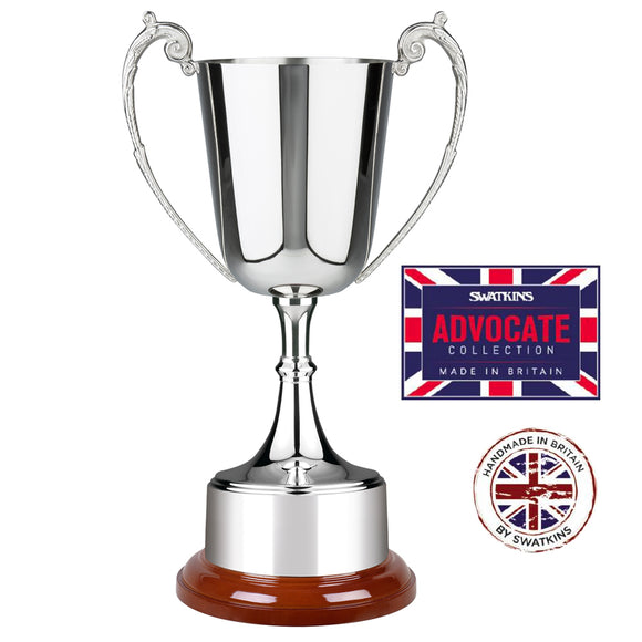 Swatkins SAS670 Silver Plated Advocate Cup Award Trophy In 3 Sizes - engraving-gallery.com