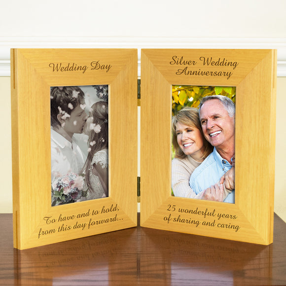 25th Silver Wedding Anniversary, Double Wooden Photo Frame , Free Standing And Hinged Solid Wood, with Gift Wrap Sheet and Bow