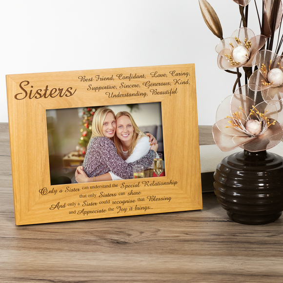 Sisters - Engraved Solid Wood Photo Frame - engraving-gallery.com