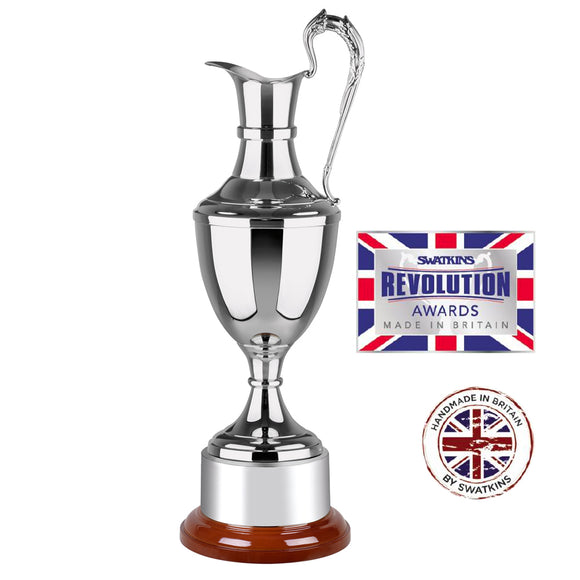 Swatkins SNW02 Nickel Plated Revolution Claret Jug Award Trophy In 3 Sizes - engraving-gallery.com