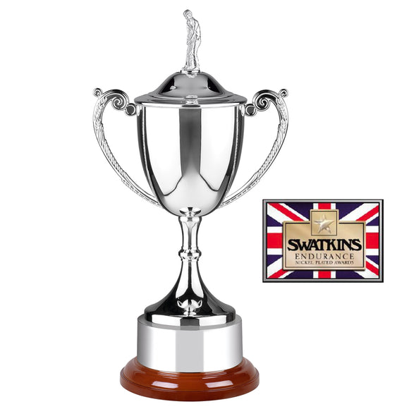 Swatkins WC6 Nickel Plated Golf Endurance Cup Award Trophy With Lid In 3 Sizes - engraving-gallery.com
