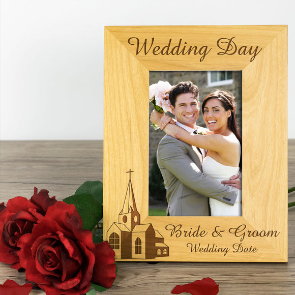 Church Wedding, Personalised Wood Photo Frame, Portrait - engraving-gallery.com