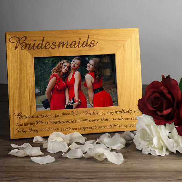 Bridesmaids - Engraved Wood Photo Frame - engraving-gallery.com