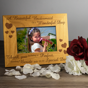 Bridesmaid, on a wonderful day - Engraved Wood Photo Frame - engraving-gallery.com