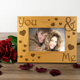 You and Me - Engraved Wood Photo Frame - engraving-gallery.com