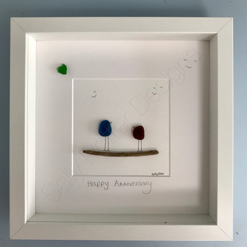 Sea Glass Art - 'Happy Anniversary' - Made to Order
