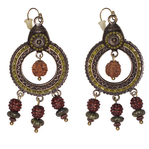 Bali Bronze Metal & Wood Earrings