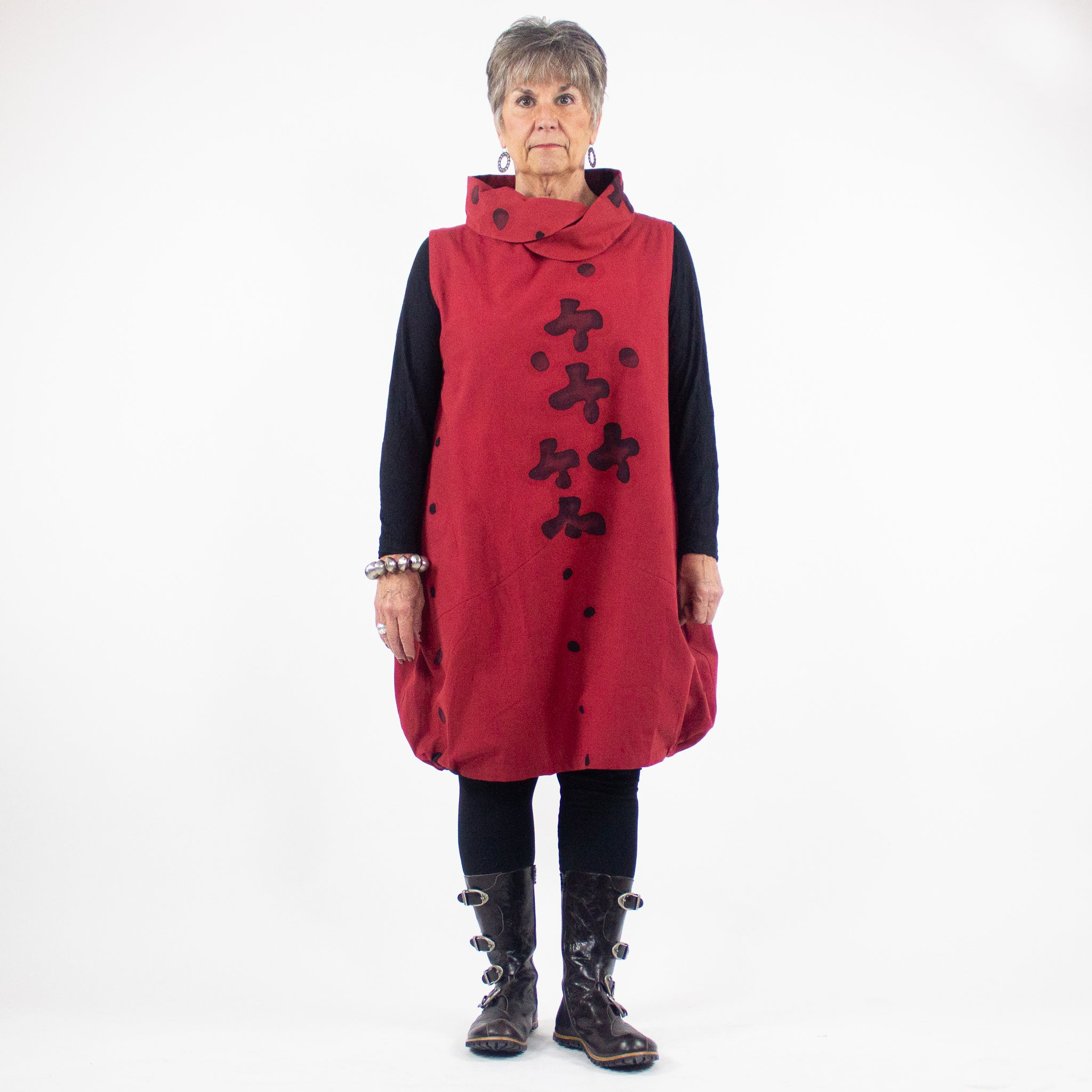 Mao Mam Red Cowl Neck Tunic Dress