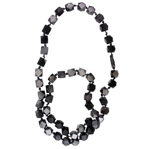 Jianhui of London Painted Octagonal Faceted Wooden Bead Necklace