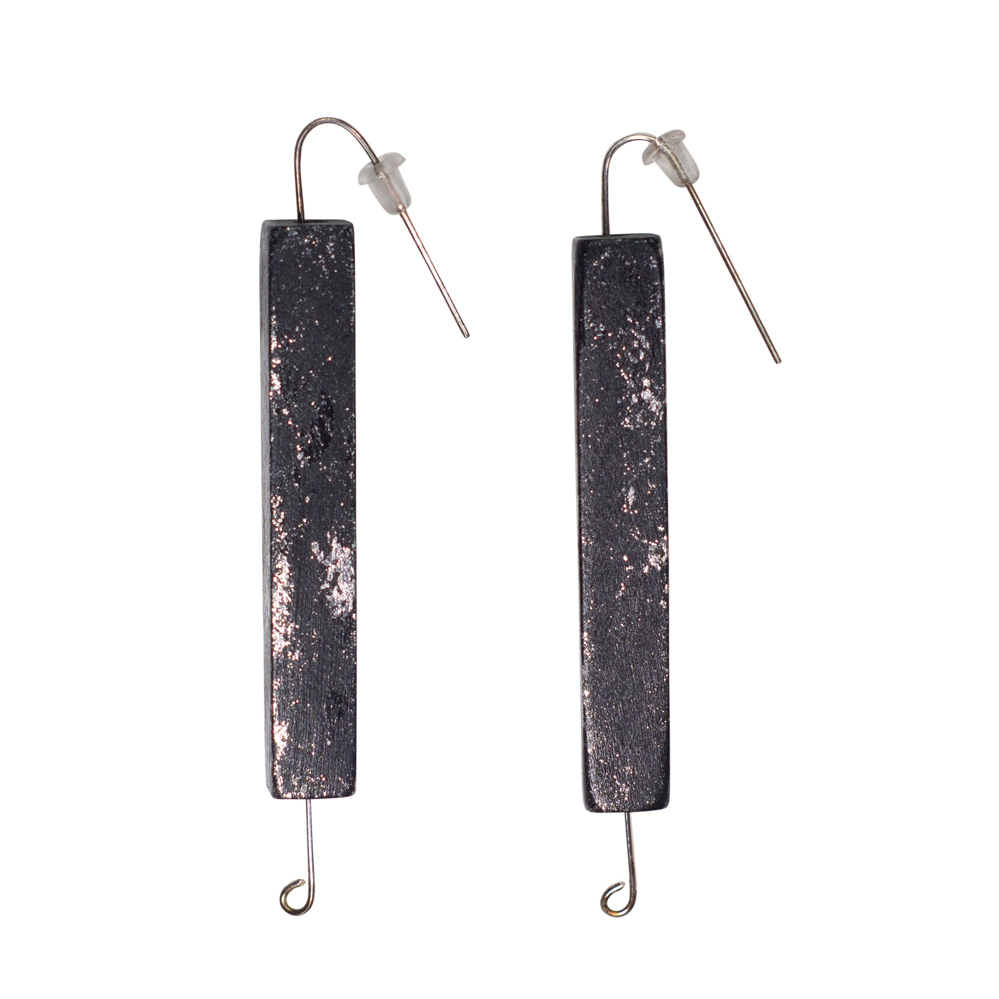 Black and Silver Painted Wood Earrings