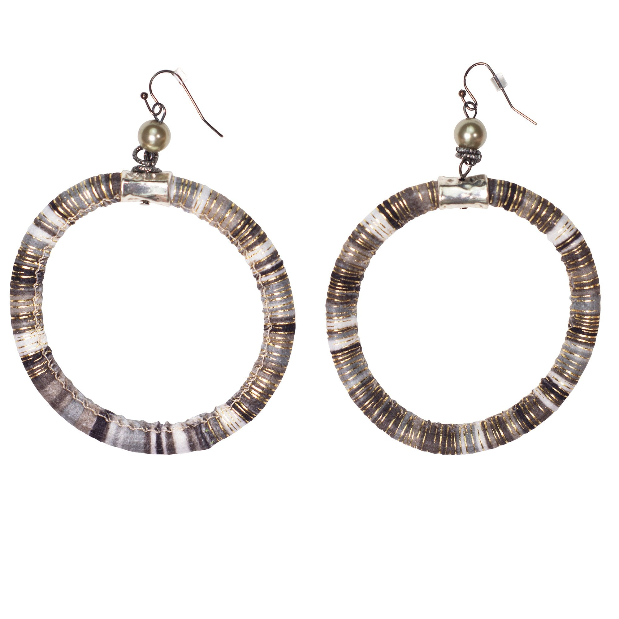 Mixed cord large hoop earrings in a natural color