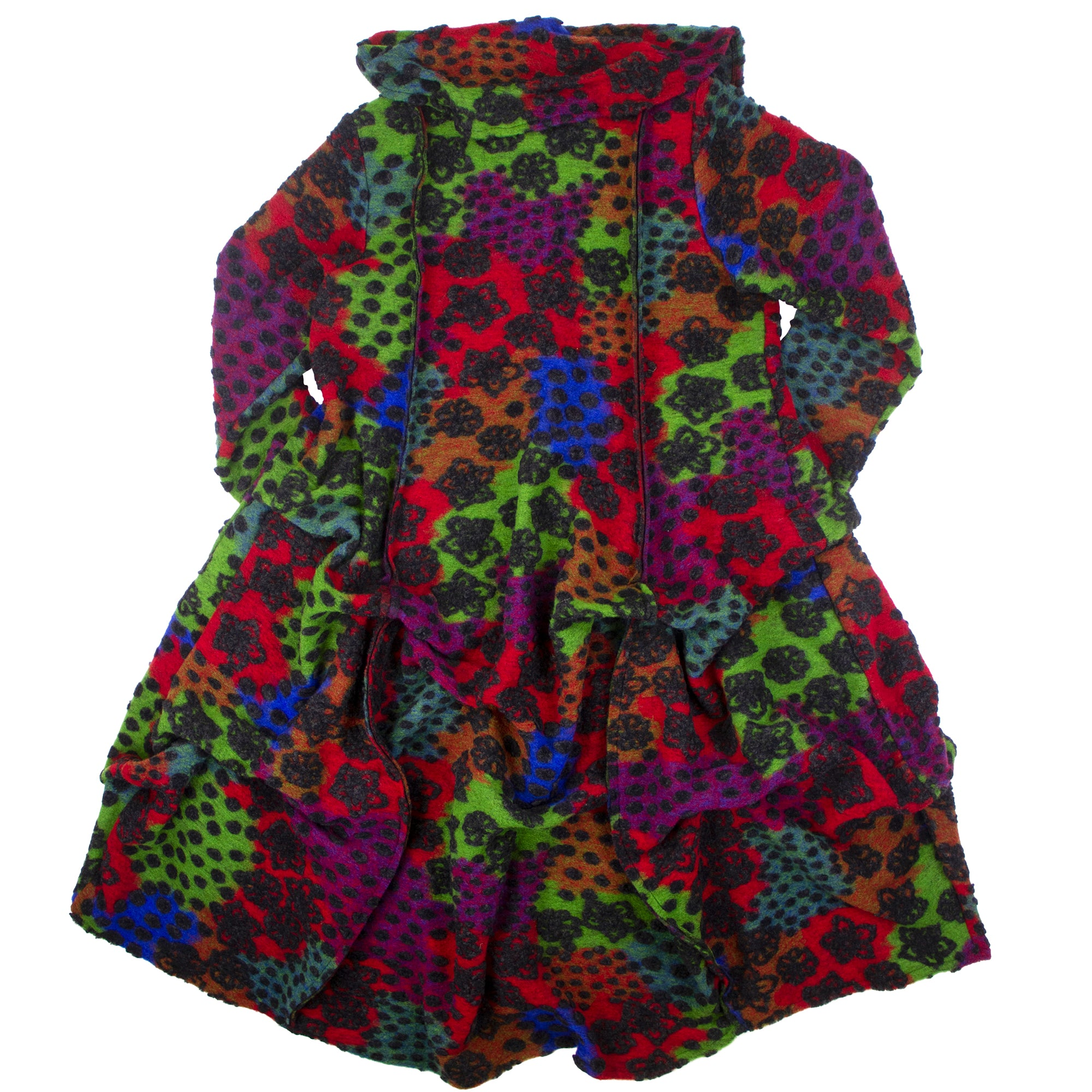 Bodil's Italian wool-blend coat is balanced and abstract with rich and bright tones and texture.