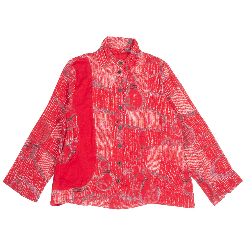 Mao Mam Red Button Front Dbl Gauze Top