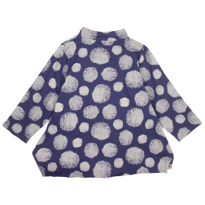 Mao Mam Navy Fleece Panel Jacket with Mesh Dot Print