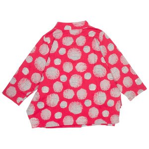 Mao Mam Red Fleece Panel Jacket with Mesh Dot Print
