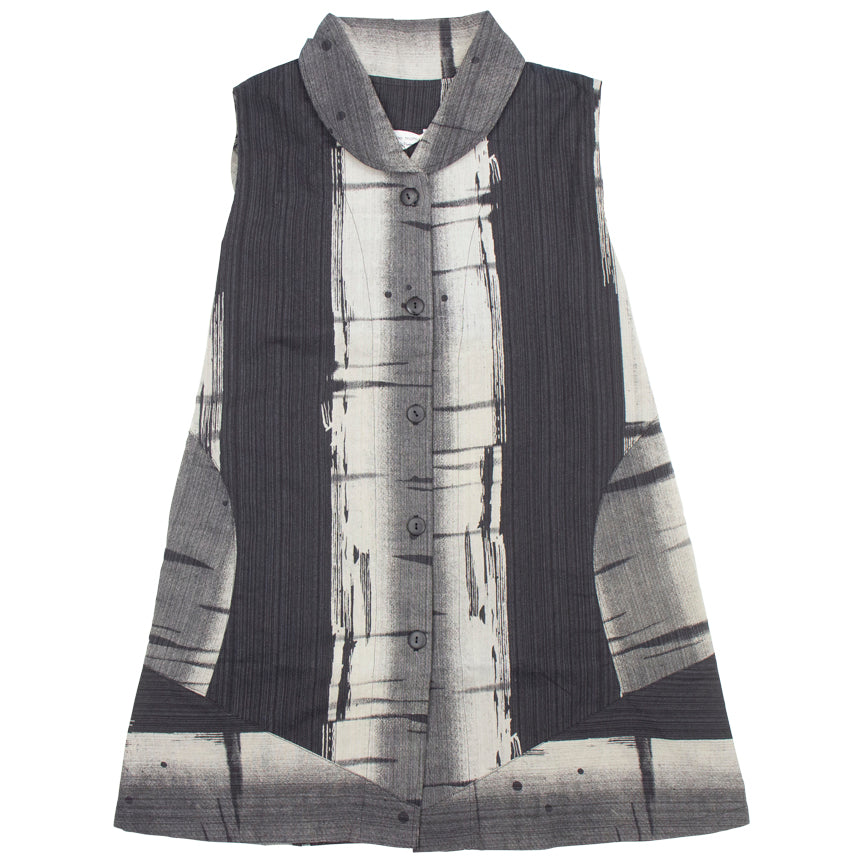 Mao Mam Circle Pocket Vest  with Kasuri Panel Print