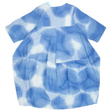 Mao Mam Indigo Water Drops Print Sleeved Bubble Dress