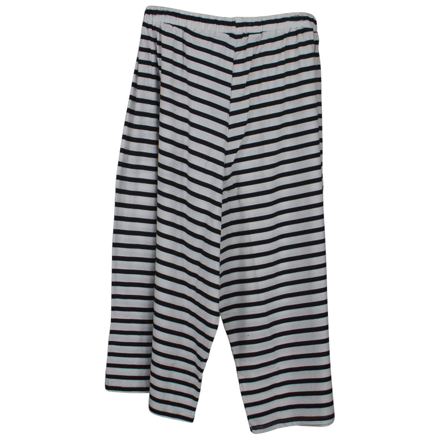 M. MATTHILDUR Black white stripe Crop Pant