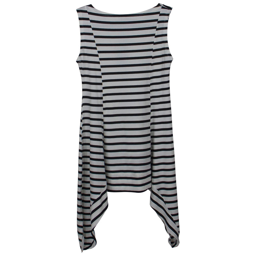 M. MATTHILDUR Black white striped sleeveless tunic.