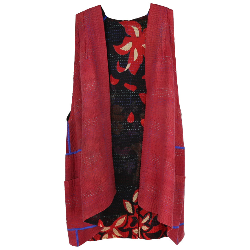 Mieko Mintz Pleated Vest, Black with Floral Print