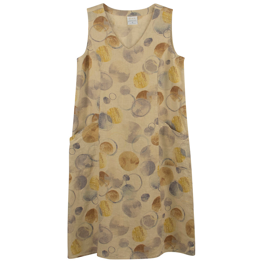Color me Cotton Tan V-Neck Knee Tank Dress