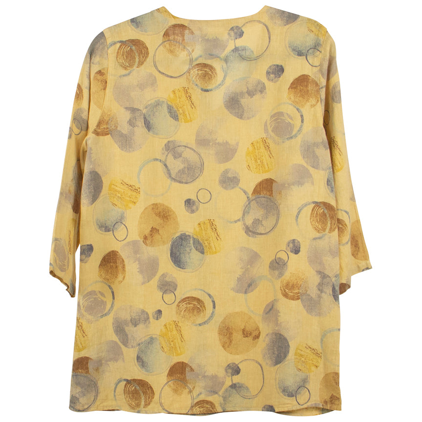 Color me Cotton Yellow Print V-Neck