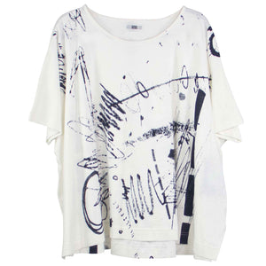 Moyuru White Scribble Tee