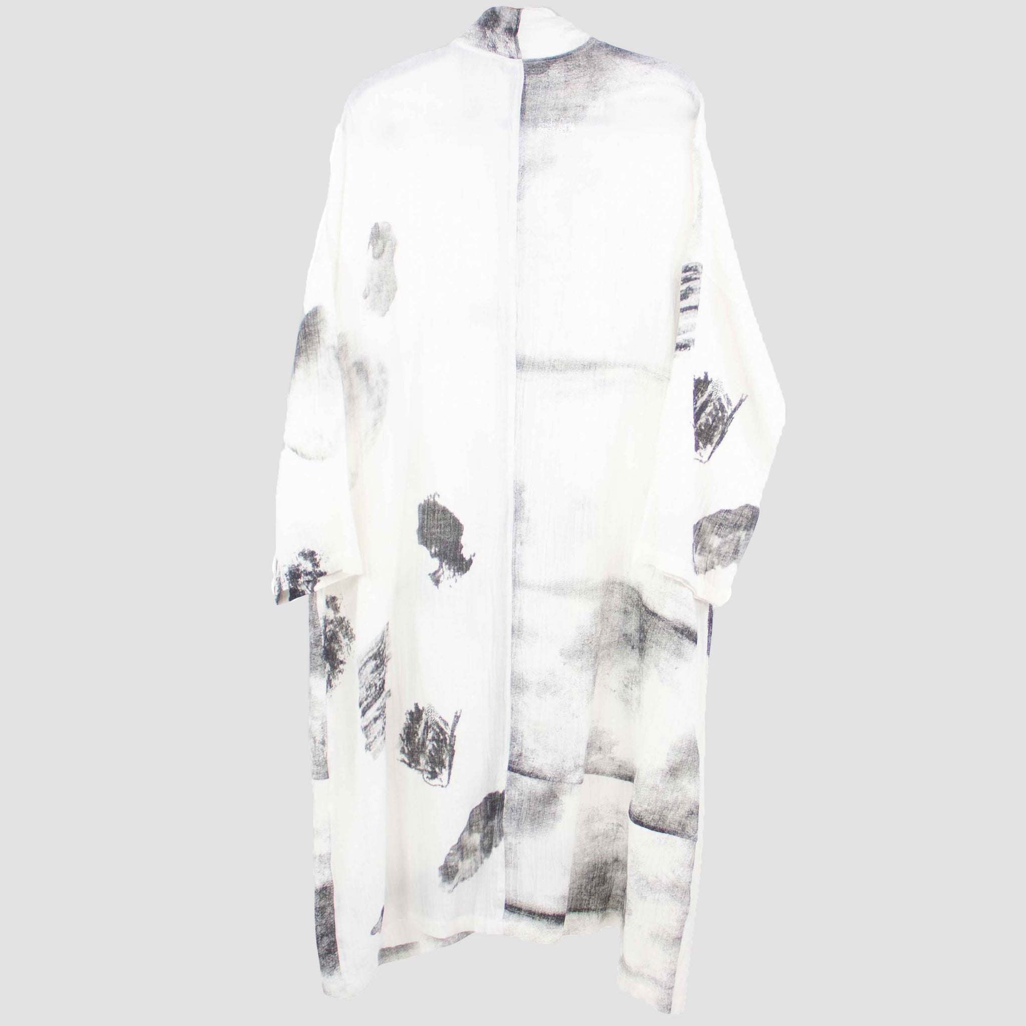 Moyuru Black and White Print Lightweight Duster