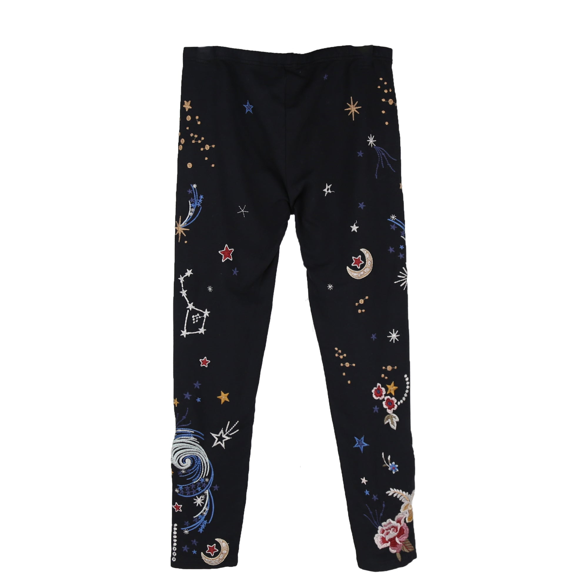 Johnny Was Cyllene Legging, Black with Embroidered Detailing