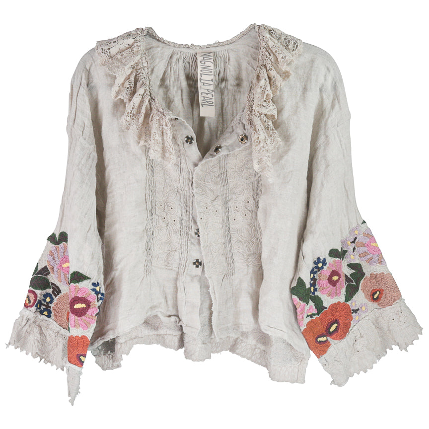 Magnolia Pearl Ana Lucia Cropped Blouse, Antique White