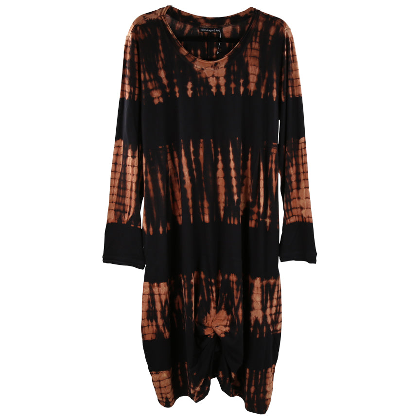 Tulip Karma Dress, Shibori Black/Chestnut Tie Dye