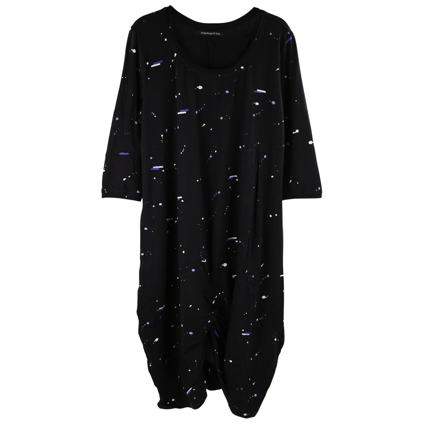 Tulip L/S Karma Dress, Black Background with Blue and White Space Print