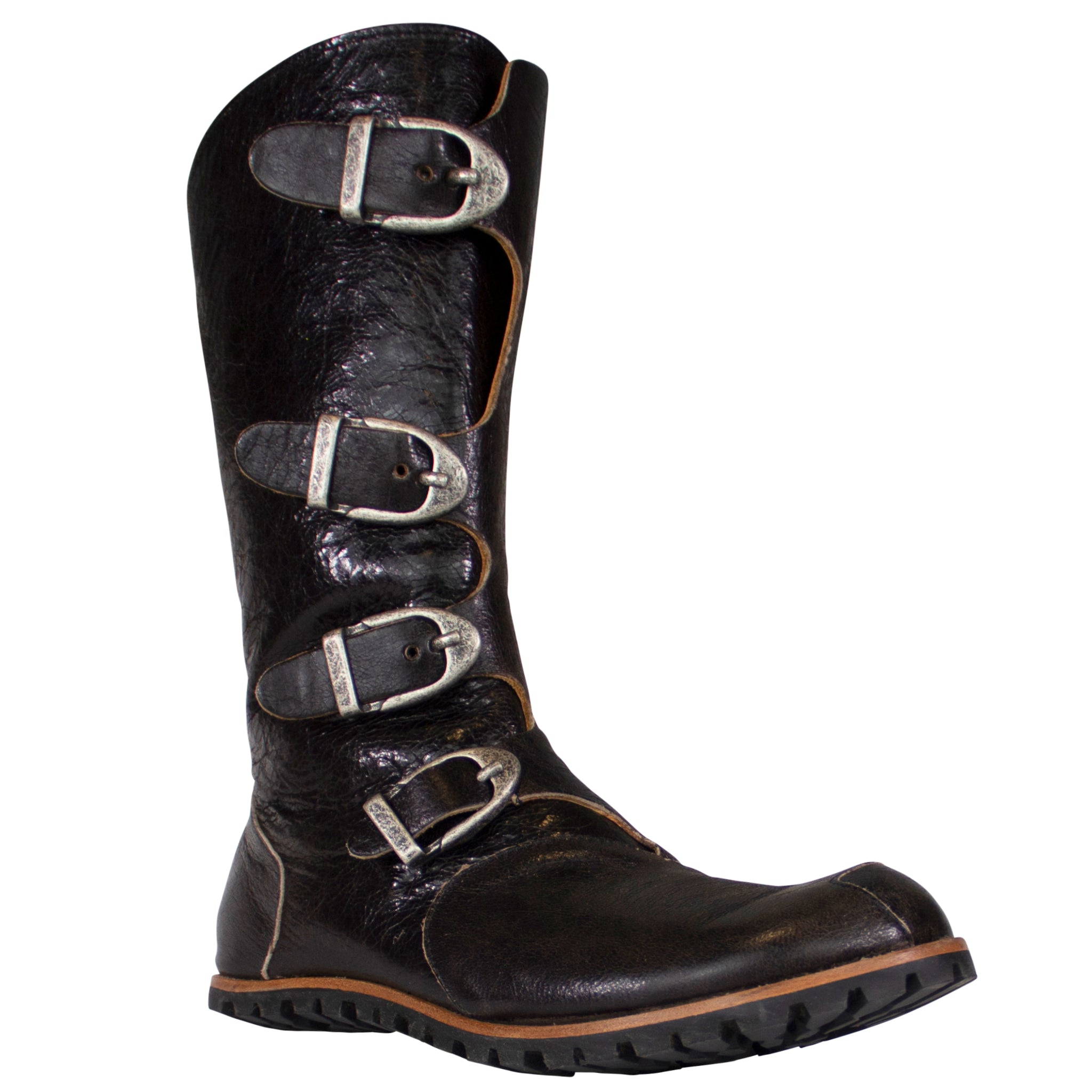 mid calf urban styled buckle boots in shiny crackle black leather