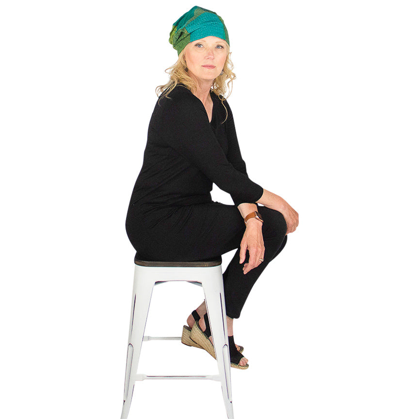 Mieko Mintz Ombre Gold Patch Green Hat