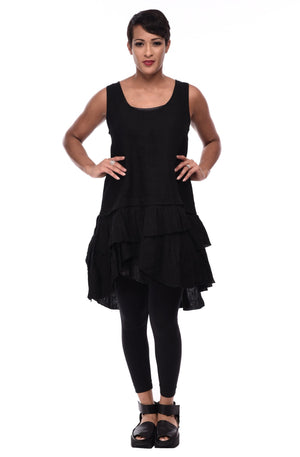 Tulip Mix Tunic ,Black Linen