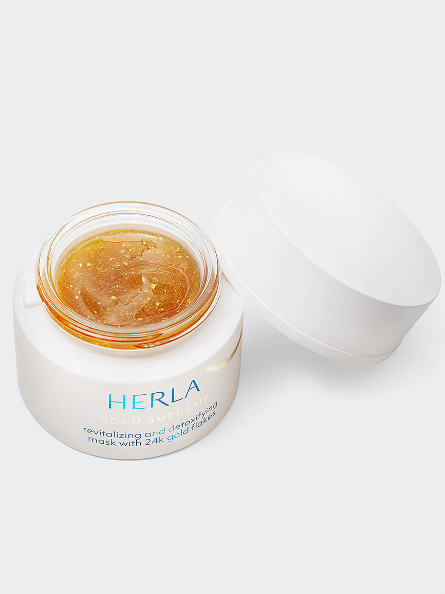 revitalizing and detoxifying mask with 24k gold flakes